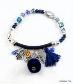 Bracelet Pompon Arbre Anne Bleu Foncé