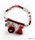 Bracelet Pompon Arbre Anne Bordeaux