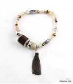 Bracelet Elastique Perles Doriane Marron