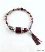 Bracelet Elastique Perles Doriane Violet