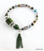 Bracelet Elastique Perles Doriane Vert
