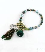 Bracelet Plume Solène Vert