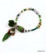 Bracelet Plume Olivia Vert