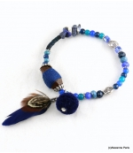 Bracelet Plume Olivia Bleu Foncé