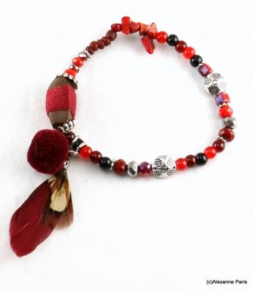 Bracelet Plume Olivia Bordeaux