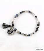 Bracelet Elastique Pompon Sofia Noir