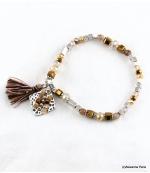 Bracelet Elastique Pompon Sofia Marron