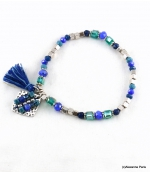 Bracelet Elastique Pompon Sofia Bleu Foncé
