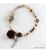 Bracelet Elastique Chaînes Cassandra marron