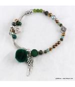 Bracelet Elastique Chaînes Cassandra vert