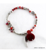 Bracelet Elastique Chaînes Cassandra rouge bordeaux