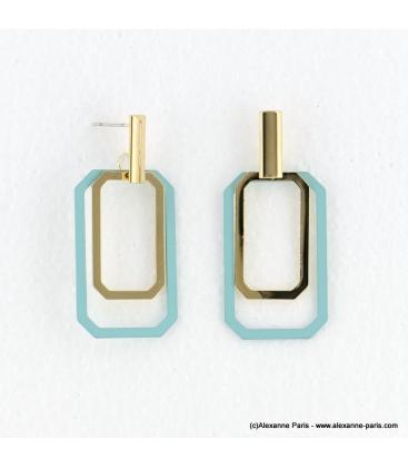 Boucles d'oreilles géométriques Emma bleu turquoise