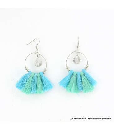 Boucles d'oreilles pompon et coquille Alice
