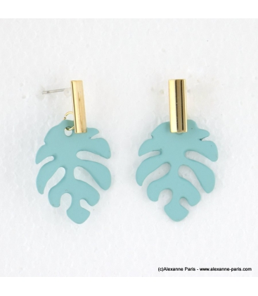 Boucles d'oreilles feuille Monstera Jade