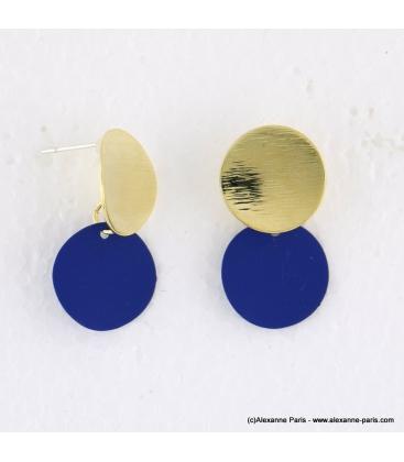 Boucles d'oreilles pièce métal Anastasia bleu