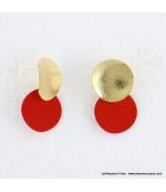 Boucles d'oreilles pièce métal Anastasia rouge