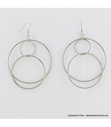 Boucles d'oreilles géométriques oversize Mila argenté