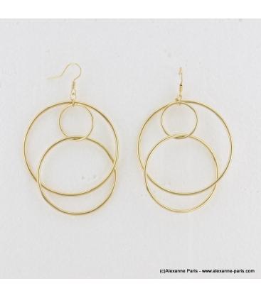 Boucles d'oreilles géométriques oversize Mila doré