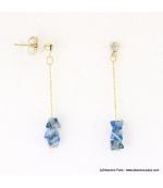 Boucles d'oreilles pyramide cristaux Juliette bleu foncé