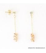 Boucles d'oreilles pyramide cristaux Juliette doré
