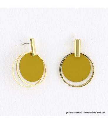 Boucles d'oreilles anneaux superposés Mélodie naturel