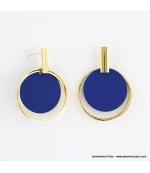 Boucles d'oreilles anneaux superposés Mélodie bleu