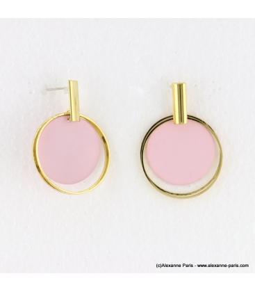 Boucles d'oreilles anneaux superposés Mélodie rose