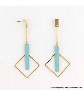 Boucles d'oreilles géométriques carrés Estelle