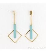 Boucles d'oreilles géométriques carrés Estelle turquoise