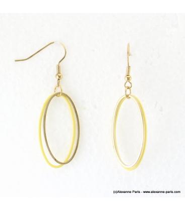 Boucles d'oreilles anneaux ovales Justine doré
