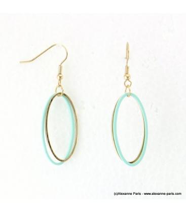 Boucles d'oreilles anneaux ovales Justine turquoise