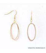 Boucles d'oreilles anneaux ovales Justine rose
