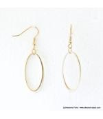Boucles d'oreilles anneaux ovales Justine blanc