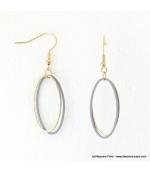 Boucles d'oreilles anneaux ovales Justine gris clair