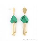 Boucles d'oreilles pétales de fleur Inès turquoise