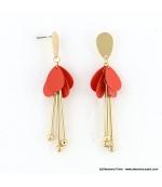 Boucles d'oreilles pétales de fleur Inès rouge corail