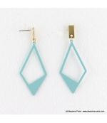 Boucles d'oreilles géométriques losange Camille turquoise