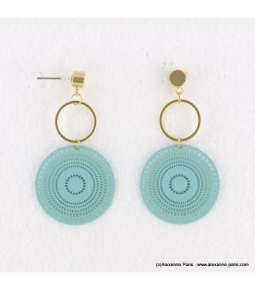 Boucles d'oreilles anneaux et filigrane Naomi turquoise