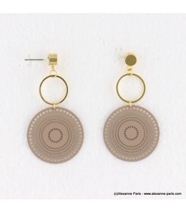 Boucles d'oreilles anneaux et filigrane Naomi rose