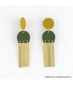 Boucles d'oreilles géométriques mat et métal Léna