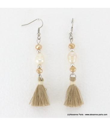 Boucles d'oreilles perle d'eau douce Anais naturel