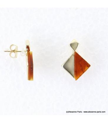 Boucles d'oreilles géométriques marbrées Margot marron