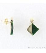 Boucles d'oreilles géométriques marbrées Margot vert