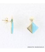 Boucles d'oreilles géométriques marbrées Margot bleu