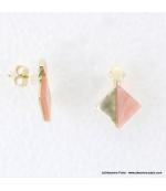 Boucles d'oreilles géométriques marbrées Margot rose