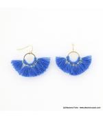 Boucles d'oreilles Pompon Pénéloppe bleu foncé