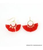 Boucles d'oreilles Pompon Pénéloppe rouge