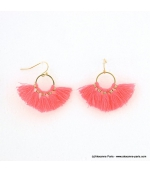 Boucles d'oreilles Pompon Pénéloppe rose