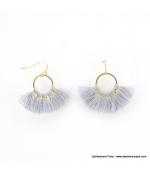 Boucles d'oreilles Pompon Pénéloppe gris clair