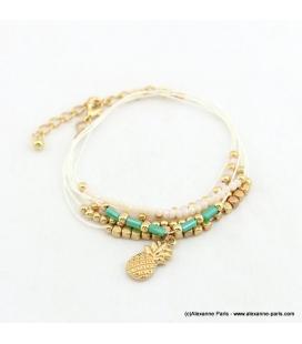 Bracelet multi-tours pendentif ananas Kimberley